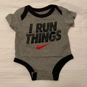 "Nike ""I run things"" newborn onesie"